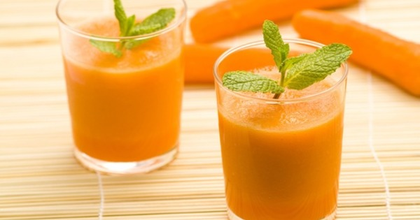 delicious and fresh carrot juice and mint