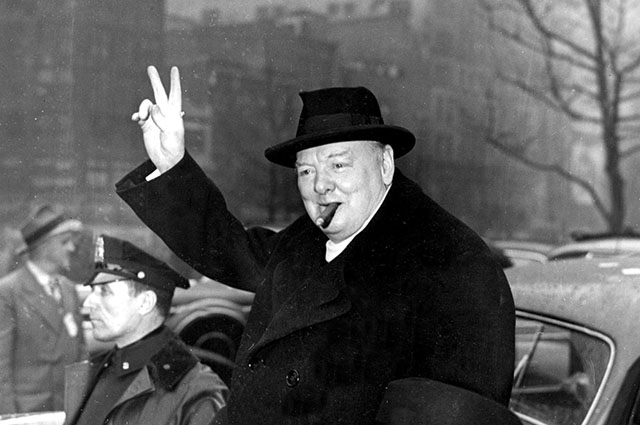 March 20, 1946 - New York, NY, U.S. - War leader WINSTON CHURCHILL was uniquely stirred by the challenge of war. In 1935 he warned the House of Commons of the importance not only of 'self-preservation but also of the human and the world cause of the preservation of free governments and of Western civilization against the ever advancing sources of authority and despotism.' PICTURED: CHURCHILL during his visit to New York, next to him the assistant of N.Y. mayor. (Credit Image: © k09/ZUMAPRESS.com/Global Look Press)