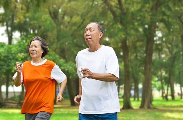 27903182 - happy senior couple running together in the park